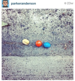 """JULY: """"Pistachio Pac Man."""" I found these little guys on the street when I was stepping out of the car."""