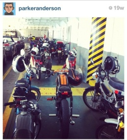 """AUGUST: """"Moped a Go Go on the Ferry."""" A group of 30 mopeds and scooters all got on the Vashon ferry with us, it was amazing."""