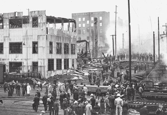 Twenty-one years after the great Seattle fire destroyed much of downtown, Belltown had its own monster fire. On the night of June 6, 1910, wind blew stray sparks from a Great Northern train to a stable. A pile of feed hay caught fire. The flames spread in the late-spring breeze. Dozens of wood- frame buildings burned overnight. Nearly 1,000 people lost their homes and businesses; 35 horses died. Portions of eight blocks were consumed in the flames. (Museum of History and Industry)