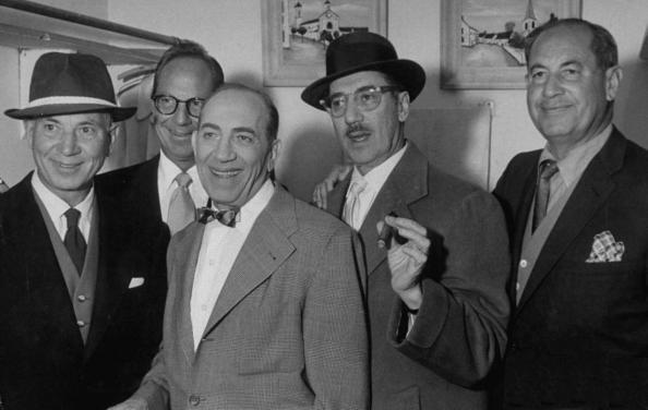 Marx brothers (L to R) Harpo Marx, Zeppo Marx, Chico Marx, Groucho Marx, and Gummo Marx (circa 1957)