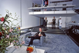 In 1977 Halston developed for Karastan the first designer carpet collection - this is a great view of the grey wall to wall carpet he developed for Karastan which he used through-out the townhouse. He loved how it looked like ultra suede. His beloved pekingese dog he called Peke is in is lap. From the Harry Benson photo shoot for LIFE Magazine, 1978.
