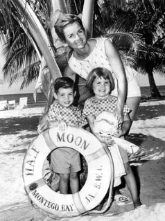 Debbie Reynolds and her children, Todd and Carrie, enjoy the sunny shores of Montego Bay, Jamaica. January, 1961