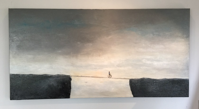 Dare To Unicycle, 2015 Acrylic painting by Ricardo Romero Cortez Duque $1,050 Acrylic painting, Canvas One of a kind artwork Size: 48 × 24 × 2 in (unframed) This artwork is sold unframed Signed on the front Artist's description: There are risks involved when seeking out the unknown, when venturing out of your comfort zone to see what is on the other side.  [click on photo to be taken to the painting]
