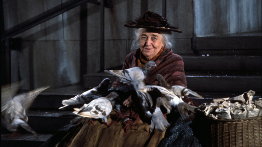 Jane Darwell feed the birds
