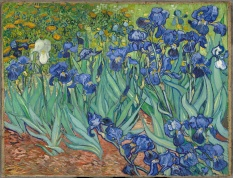 Title: Irises Artist: Vincent van Gogh Dimensions: 2′ 4″ x 3′ 1″ Location: J. Paul Getty Museum Created: 1889 Subject: Irises Media: Oil paint