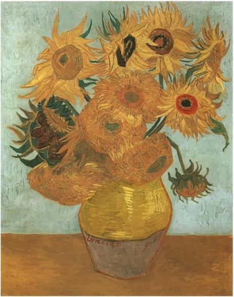 Title: Still Life Vase With Twelve Sunflowers Artist: Vincent van Gogh Location: Neue Pinakothek Created: August 1888