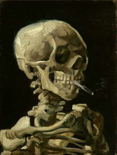 Title: Skull of a Skeleton with Burning Cigarette Artist: Vincent van Gogh Year: c. 1885–86 Type Oil on canvas Dimensions 32 cm × 24.5 cm (13 in × 9.6 in) Location Van Gogh Museum, Amsterdam