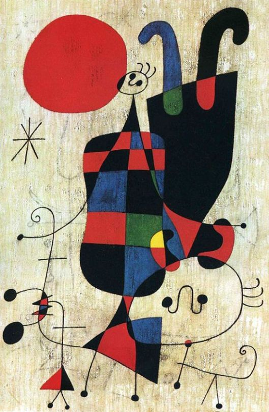 """Joan Miro """"Figures and Dog in front of the Sun"""" (1949)"""