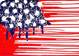 Abstract Plastic-Wrapped American Flag by Cristopher Ernest