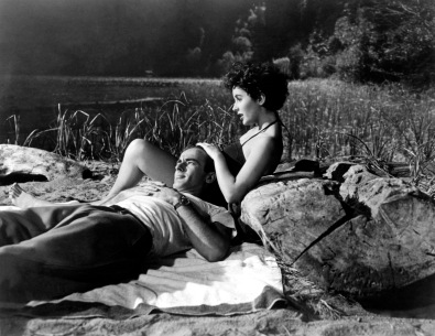 1951: Film stars Elizabeth Taylor and Montgomery Clift (1920-1966) star in the Paramount melodrama 'A Place In The Sun'.