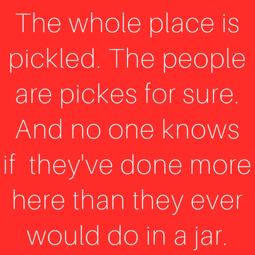The whole place is pickled. The people are pickes for sure. And no one knows if they've done more here than they ever would do in a jar.