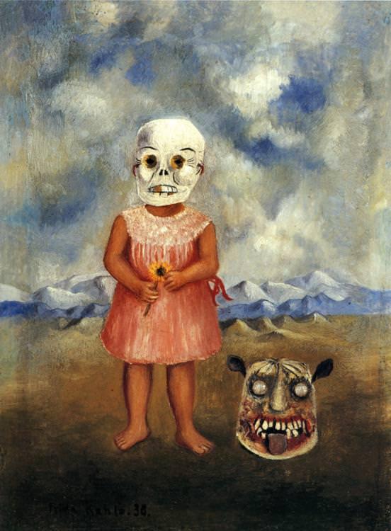 girl-with-death-mask frida kahlo