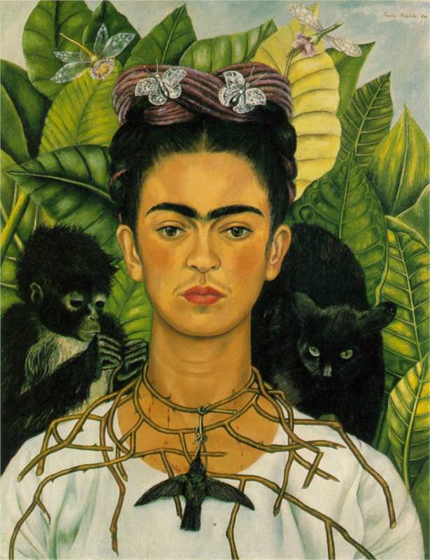 self-portrait-with-necklace-of-thorns Frida Kahlo