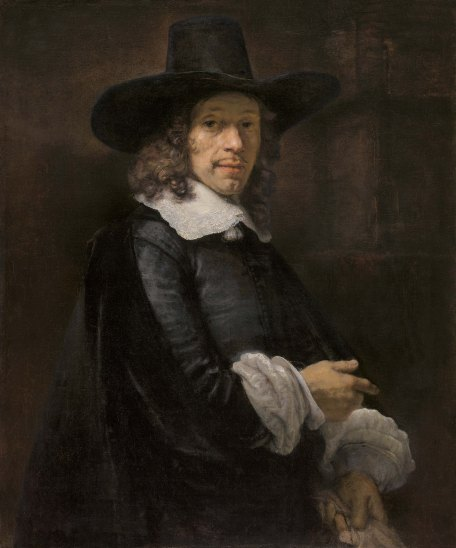 Rembrandt van Rijn (Dutch, 1606 - 1669), Portrait of a Gentleman with a Tall Hat and Gloves, c. 1656/1658, oil on canvas transferred to canvas, Widener Collection 1942.9.67